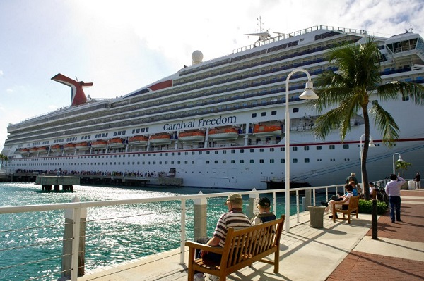 A cruise ship at their port-of-call